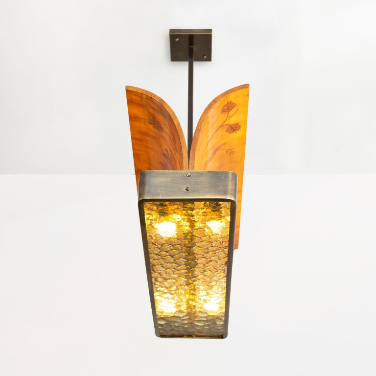 Scandinavian Modern marquetry wood and patinated brass pendant by Reiners Möbler For Sale 2