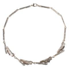Scandinavian Modern Midcentury Silver Necklace Juhls Norway 1970s Brutalist