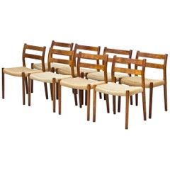 """Scandinavian Modern, """"Model 84"""" Dining Chairs by Niels Møller, Denmark, Set of 8"""