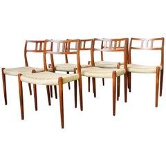Set of Six Scandinavian Modern Moller 79 Teak Dining Chairs by Niels O. Moller