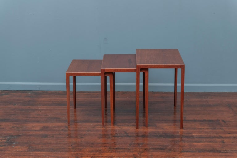 Scandinavian Modern teak nesting tables designed by Eske Kristiansen for L.Pontopiddan, Denmark 1960s. High quality construction and newly refinished.