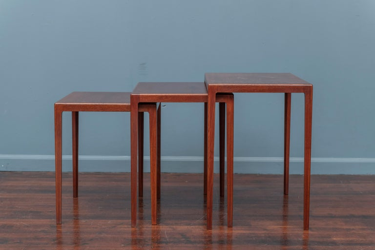 Danish Scandinavian Modern Nesting Tables by Eske Kristiansen for L.Pontopiddan For Sale