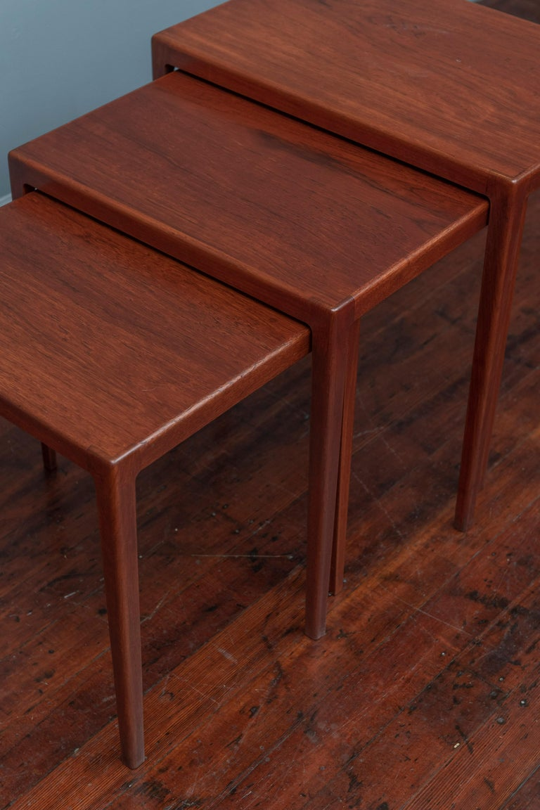 Scandinavian Modern Nesting Tables by Eske Kristiansen for L.Pontopiddan In Good Condition For Sale In San Francisco, CA