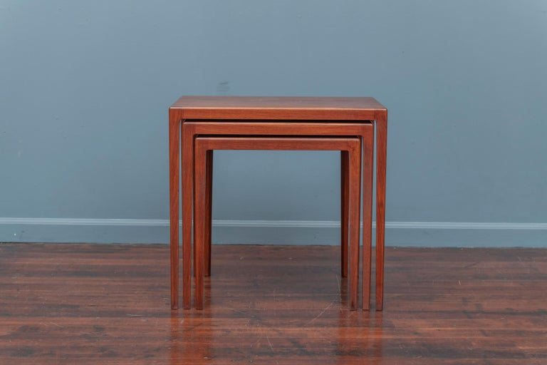 Teak Scandinavian Modern Nesting Tables by Eske Kristiansen for L.Pontopiddan For Sale