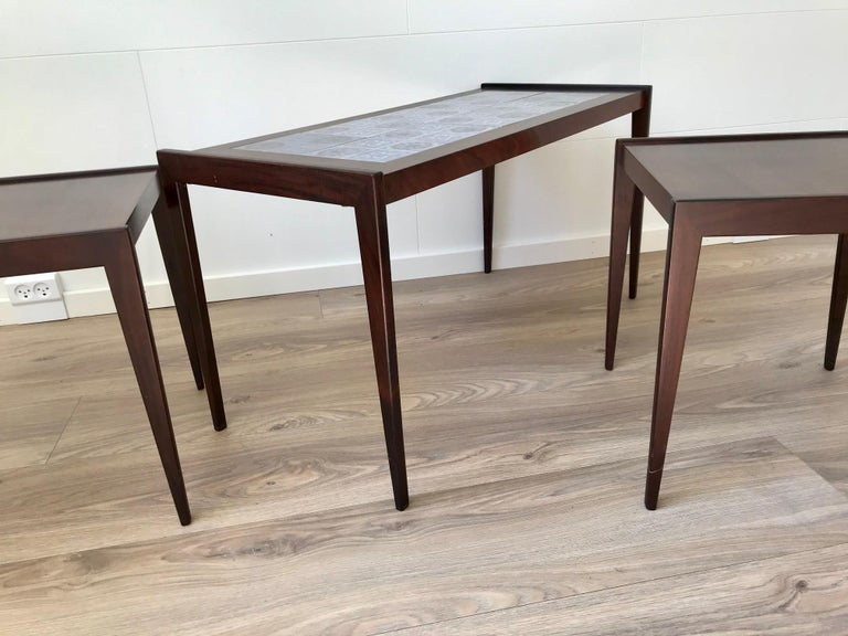 Danish Scandinavian Modern Nesting Tables in Teak & Oak, 1970s For Sale