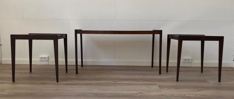Scandinavian Modern Nesting Tables in Teak & Oak, 1970s For Sale 2