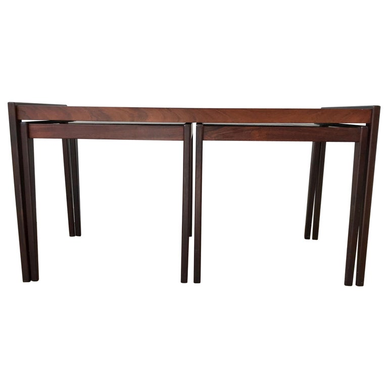 Scandinavian Modern Nesting Tables in Teak & Oak, 1970s For Sale