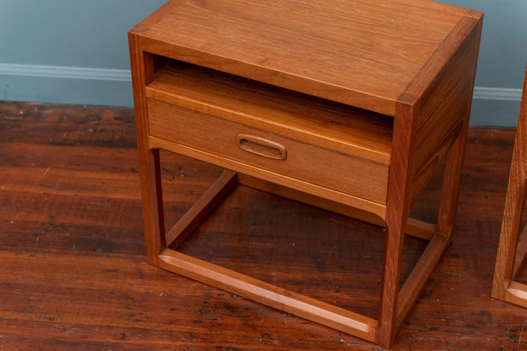 Scandinavian Modern oak nightstands designed by Aksel Kjersgaard, Denmark. High quality construction newly refinished and ready to enjoy.