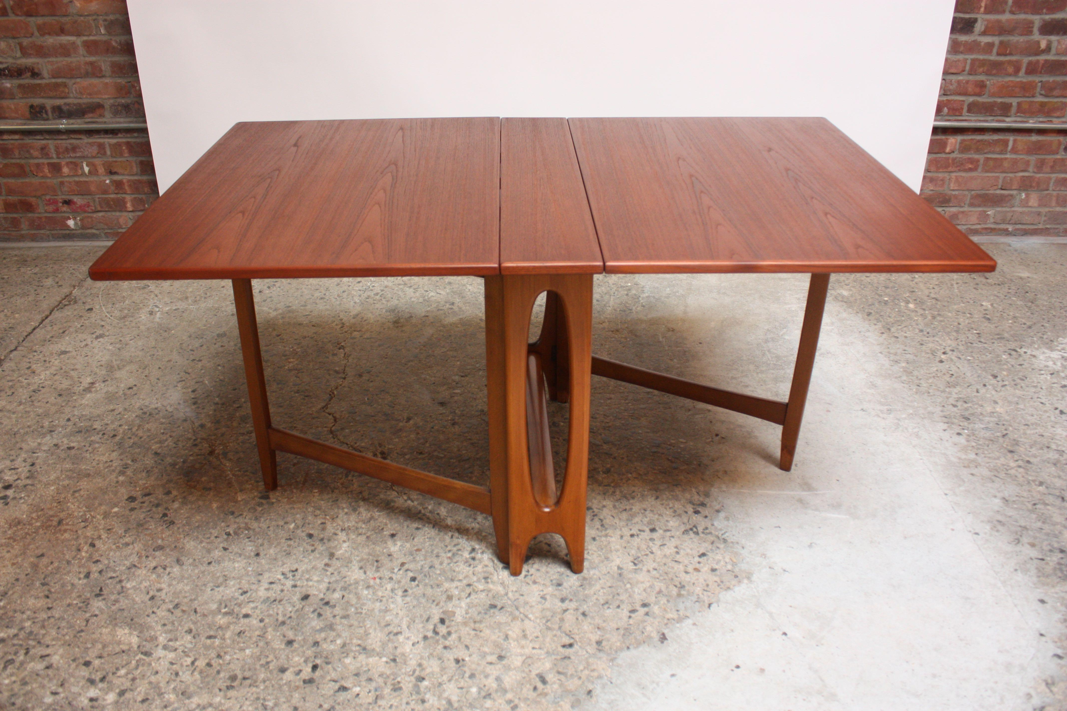 Scandinavian Modern Oak And Beech Gateleg Dining Table