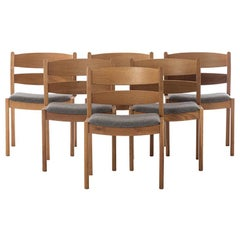 Scandinavian Modern Oak Dining Chairs with Boiled Wool Seats by Kurt Ostervig