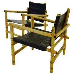Scandinavian Modern Pair Bamboo and Rattan Safari Chairs