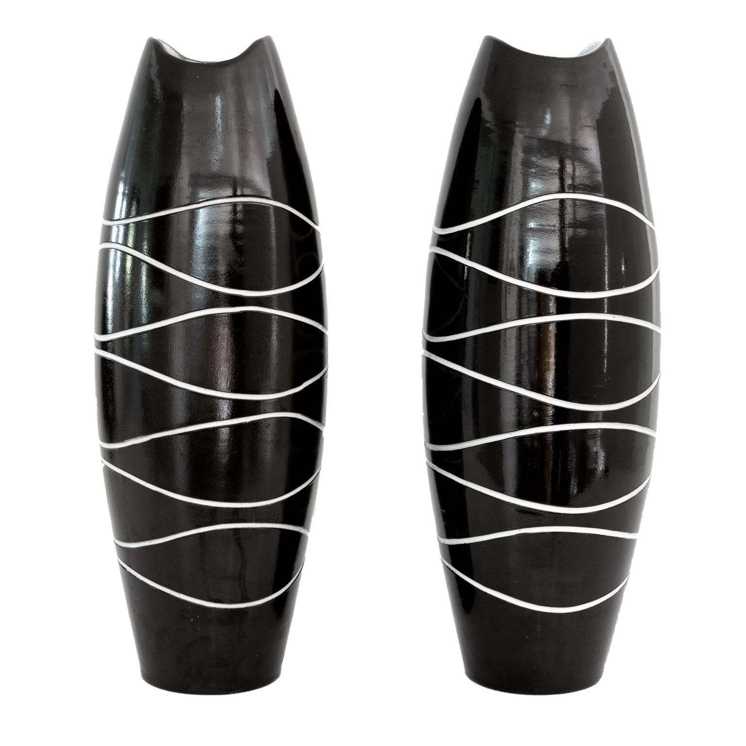 Scandinavian Modern Pair of Atoll Vases by Hjördis Oldfors, Upsala Ekeby Sweden