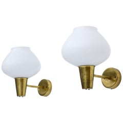 Scandinavian Modern Pair of Brass and Opaline Glass Wall Lamps by ASEA, 1950s