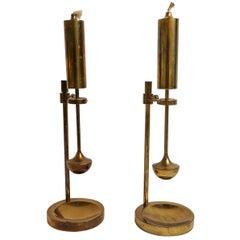 Scandinavian Modern Pair of Danish Brass Gyroscope Oil Lamp