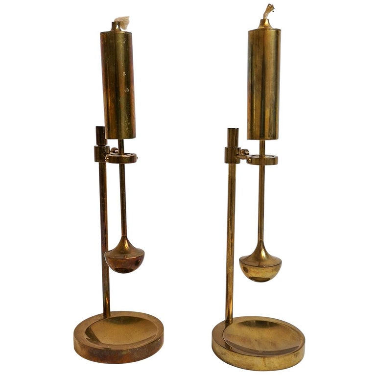 Pair of Danish brass gyroscope oil lamps, 1960s, offered by Balder Design