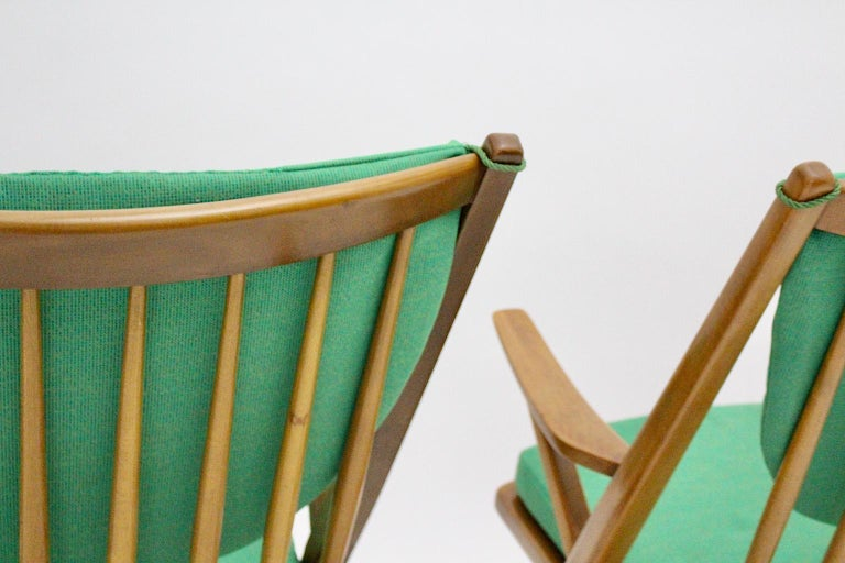 Scandinavian Modern Pair of Green Beech Vintage Rocking Chair Frank Reenskaug For Sale 3