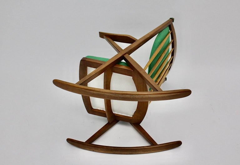 Scandinavian Modern Pair of Green Beech Vintage Rocking Chair Frank Reenskaug For Sale 7