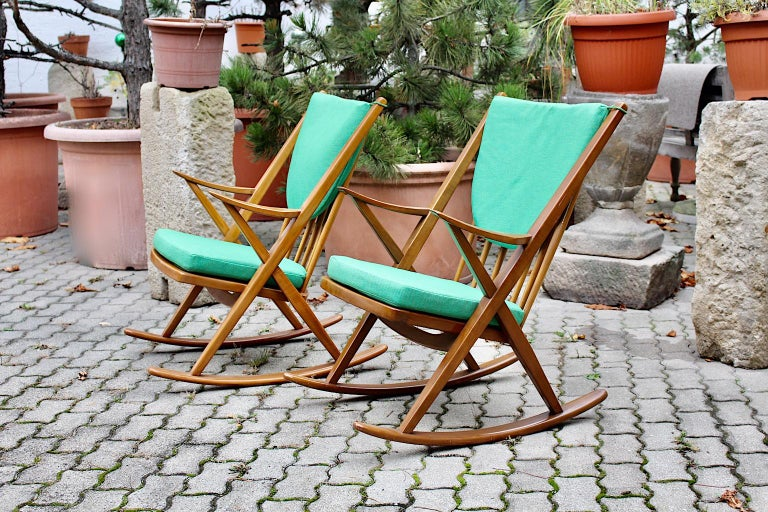 Scandinavian Modern Pair of Green Beech Vintage Rocking Chair Frank Reenskaug For Sale 8