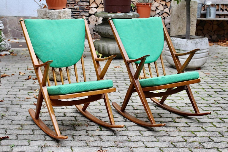 Scandinavian Modern Pair of Green Beech Vintage Rocking Chair Frank Reenskaug For Sale 10