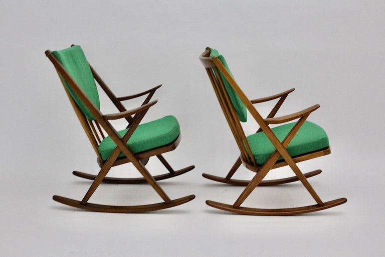 Mid-Century Modern Scandinavian Modern Pair of Green Beech Vintage Rocking Chair Frank Reenskaug For Sale