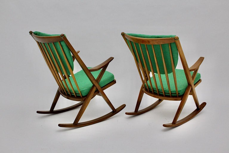 Danish Scandinavian Modern Pair of Green Beech Vintage Rocking Chair Frank Reenskaug For Sale