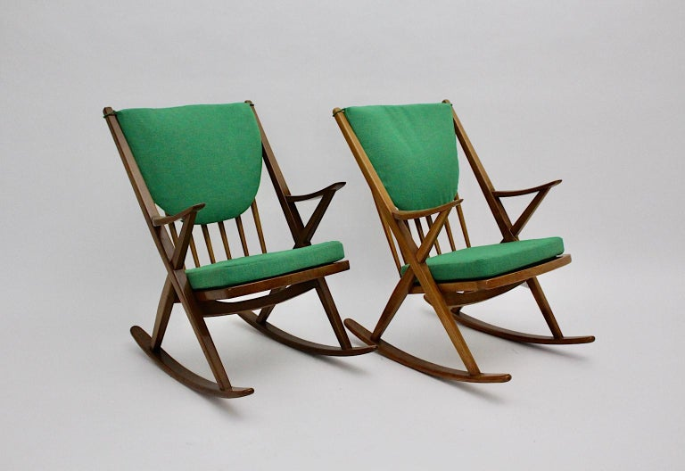 Polished Scandinavian Modern Pair of Green Beech Vintage Rocking Chair Frank Reenskaug For Sale