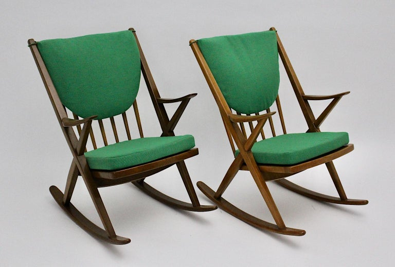 Scandinavian Modern Pair of Green Beech Vintage Rocking Chair Frank Reenskaug In Good Condition For Sale In Vienna, AT