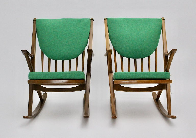 Mid-20th Century Scandinavian Modern Pair of Green Beech Vintage Rocking Chair Frank Reenskaug For Sale