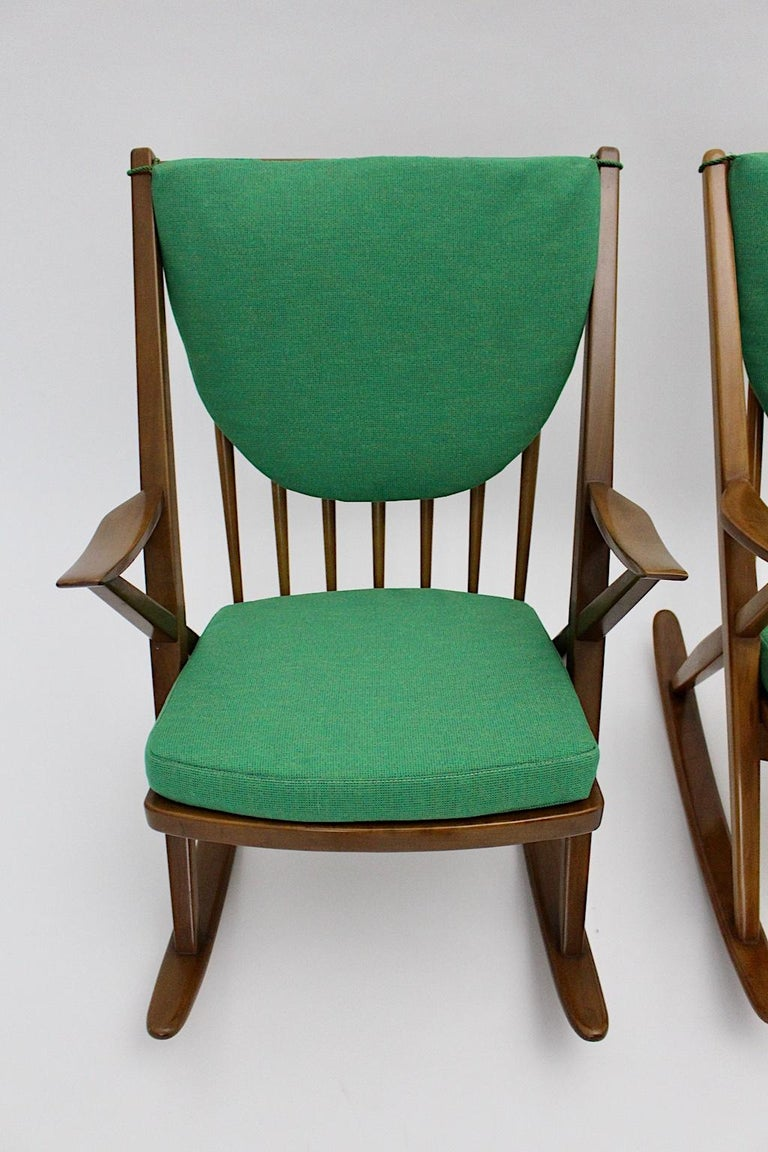 Scandinavian Modern Pair of Green Beech Vintage Rocking Chair Frank Reenskaug For Sale 1
