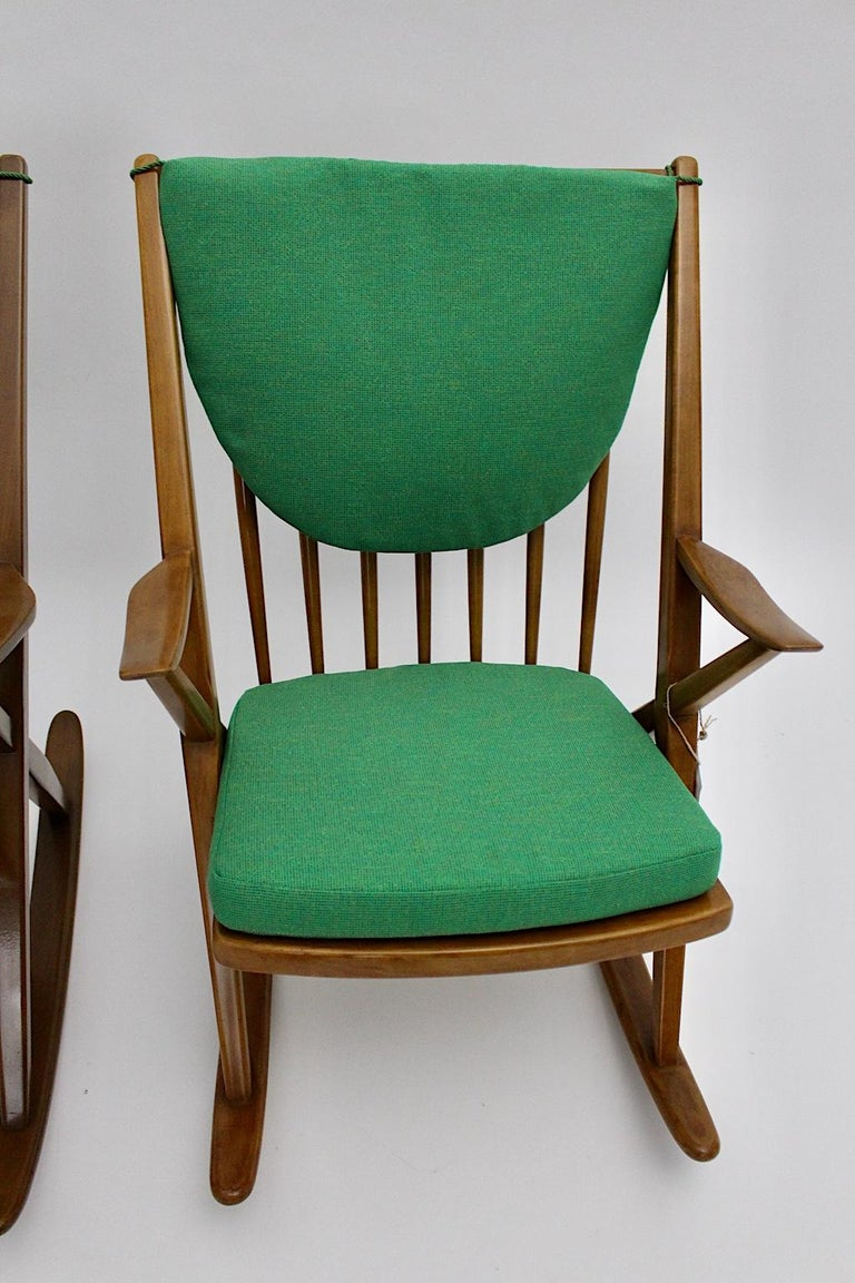 Scandinavian Modern Pair of Green Beech Vintage Rocking Chair Frank Reenskaug For Sale 2