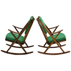 Scandinavian Modern Pair of Green Beech Vintage Rocking Chair Frank Reenskaug