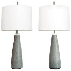 Scandinavian Modern Pair of Johansfors Glasbruk Speckled Glass Lamps, Sweden