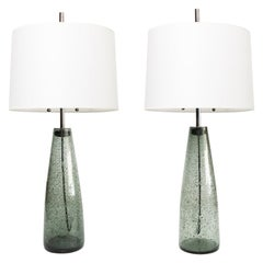Scandinavian Modern Pair of Stromboli Lamps by Bengt Orup, Hyllinge Glasbruk