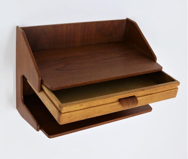 Danish Scandinavian Modern Pair of Wall Mounted Tables in Teak & Oak, 1960s For Sale