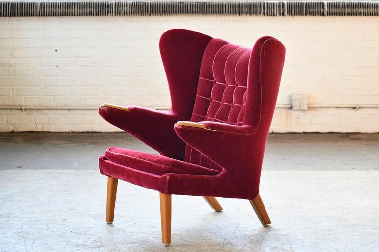 Scandinavian Modern Papa Bear High Back Lounge Chair, Sweden, 1950s For Sale 3
