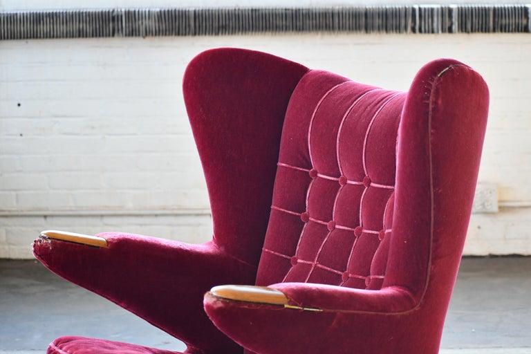 Scandinavian Modern Papa Bear High Back Lounge Chair, Sweden, 1950s For Sale 4