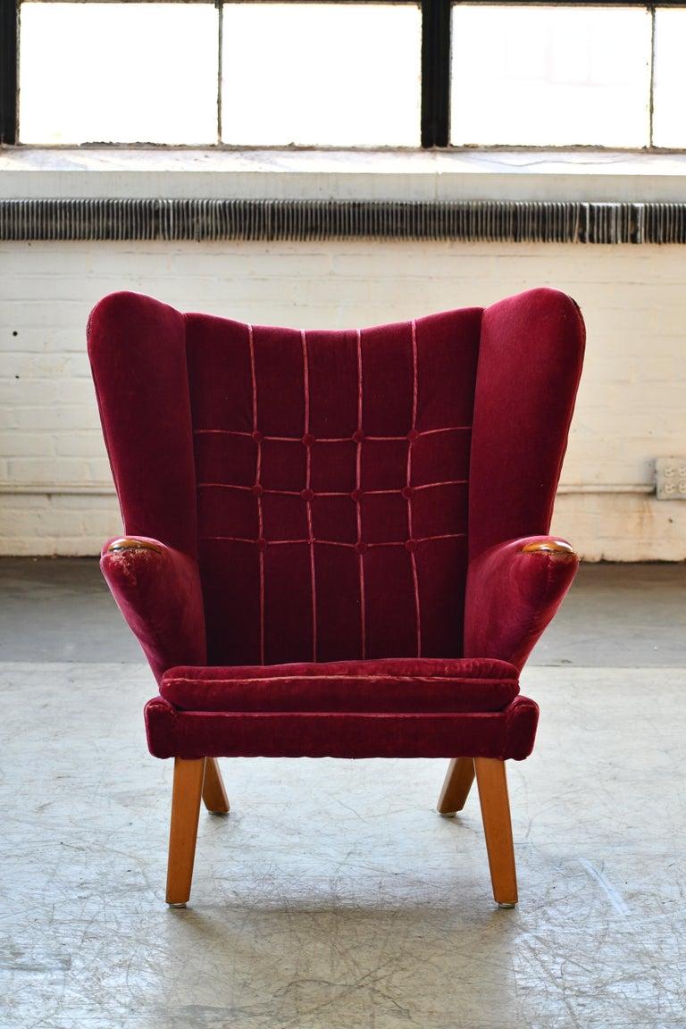 Mid-Century Modern Scandinavian Modern Papa Bear High Back Lounge Chair, Sweden, 1950s For Sale