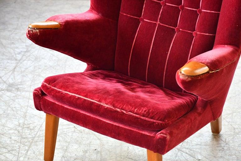 Swedish Scandinavian Modern Papa Bear High Back Lounge Chair, Sweden, 1950s For Sale