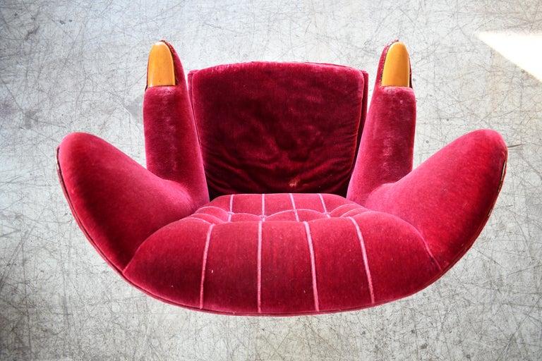 Scandinavian Modern Papa Bear High Back Lounge Chair, Sweden, 1950s For Sale 1