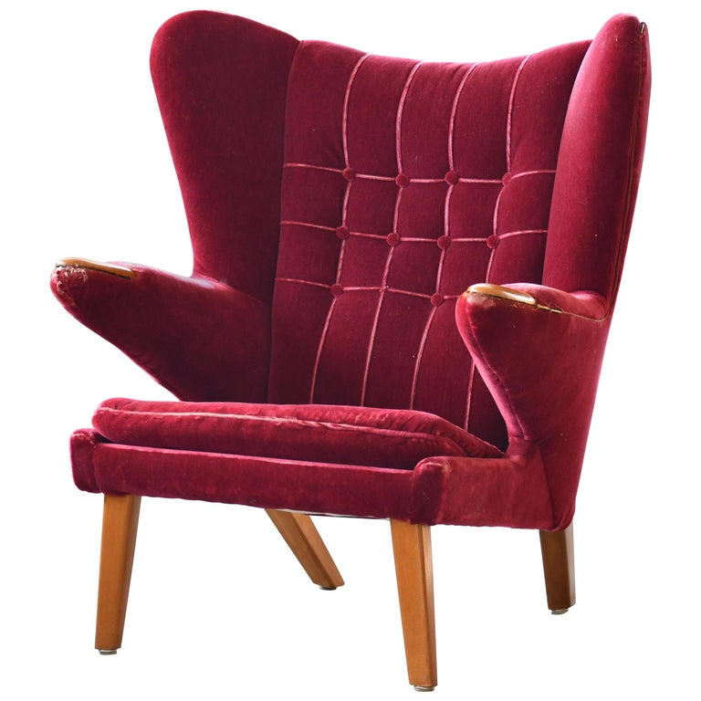 Scandinavian Modern Papa Bear High Back Lounge Chair, Sweden, 1950s For Sale
