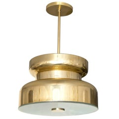 Scandinavian Modern Polished Brass and Glass Pendant