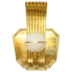 Scandinavian Modern Art Deco Polished Brass Sconce with Alabaster Globe Shade