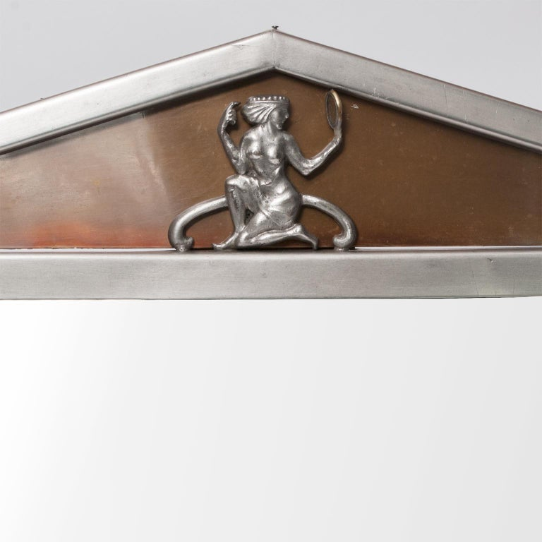 Art Deco Scandinavian Modern Polished Pewter Mirror with Pediment Top For Sale