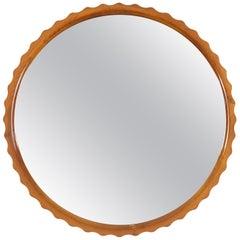 "Scandinavian Modern Polished Solid Elmwood ""Pie Crust"" Mirror"