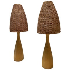 Scandinavian Modern Rattan and Solid Walnut Organic Table Lamps, 1970s, Sweden