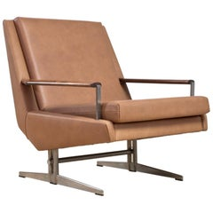 Scandinavian Modern Reupholstered Armchair in Tan Leather, 1960s Denmark