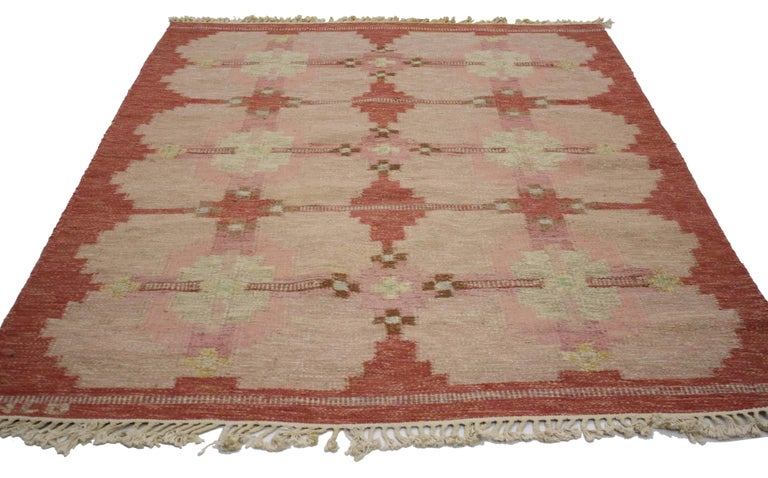 Hand-Woven Scandinavian Modern Rollakan by HLO, Swedish Flatweave Kilim Rug, Röllakan For Sale
