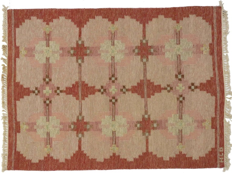 Scandinavian Modern Rollakan by HLO, Swedish Flatweave Kilim Rug, Röllakan In Excellent Condition For Sale In Dallas, TX