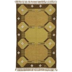 Scandinavian Modern Rollakan by Ingegerd Silow, Swedish Flat-Weave Kilim Rug
