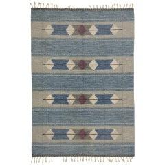 Scandinavian Modern Rollakan Rug, Vintage Swedish Flat-Weave Kilim Rug, Röllakan